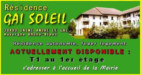 Disponibilités dans la résidence Gai Soleil